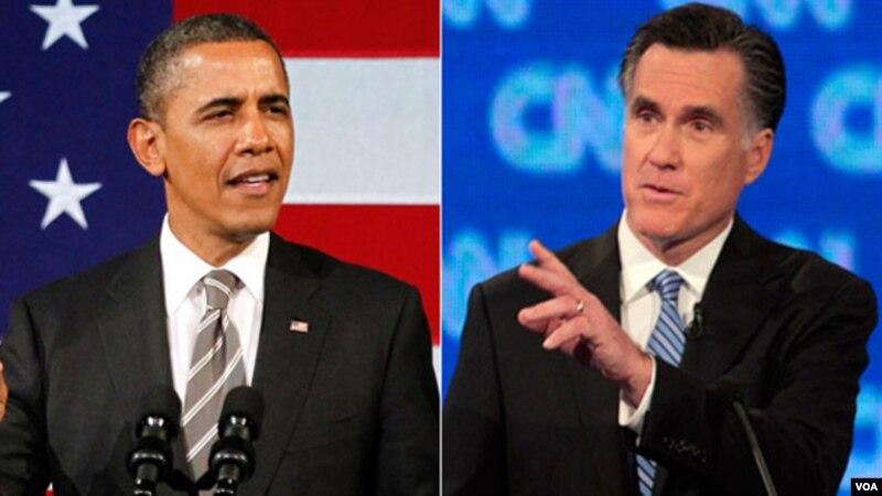 Tổng thống Barack Obama (trái) và ứng cử viên tổng thống đảng Cộng hòa Mitt Romney