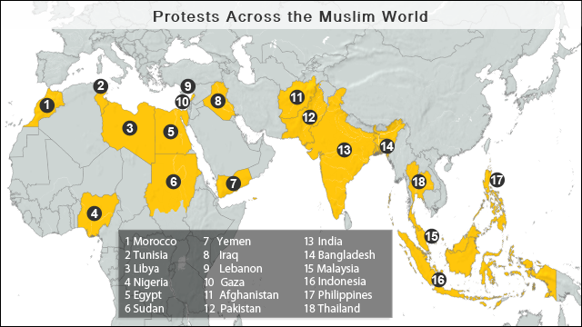 New protests erupt in islamic countries over video photo gallery map protest hot spots gumiabroncs Gallery